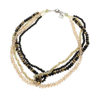 Saori ブラック&ゴールド ミックスカラー ショート ネックレス