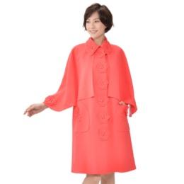 フラワーモチーフ 飾りケープ付きコート