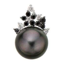 18KWG 黒蝶真珠&ブラックダイヤ フラワーペンダントヘッド