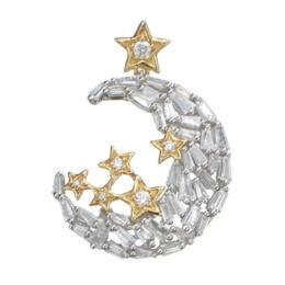 18Kダイヤモンド ムーン&スターペンダントヘッド計0.75ctUP