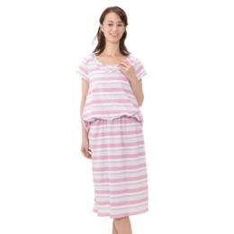 Tuche ボーダー織 半袖ワンピース