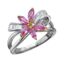 18K 2トーン ピンクサファイヤ&ダイヤモンド リング