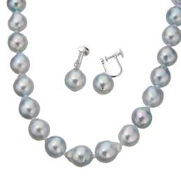 アコヤ真珠ナチュラルカラー9mm珠ネックレス&イヤリング/ピアスセット