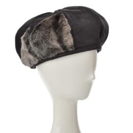 SUPERLADY フェイクファー切替ふんわりベロアベレー帽