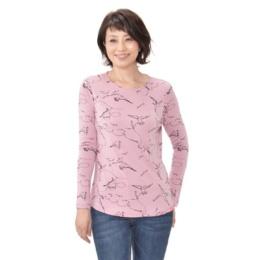 KiKKi バードプリントロングスリーブTシャツ