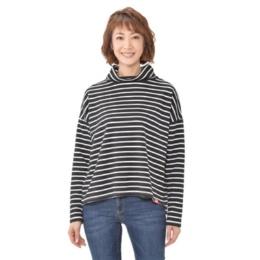 KiKKi シルエットボーダーハイネックTシャツ