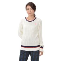 ELLE SPORT UVスポーティ-ラインクルーネックセーター