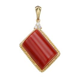 18K YG 血赤珊瑚&ダイヤモンドスクエアペンダントヘッド
