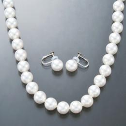 花珠真珠 9mm珠 ネックレス セット [雪白珠]