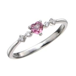 PT900 パパラチアサファイヤ&ダイヤモンドリング