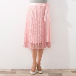 AN エレガントリッチなプリーツレース巻きスカート