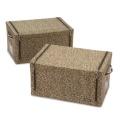 前から取出せる収納BOX磁石タイプ同色2個組L/ヒョウ柄ブラウン