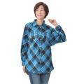 DEBUTTO バイヤス可愛いチェックのシャツ/ブルー