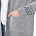 Soobinieモード可愛いジャガード編みコーディガン/メランジグレー