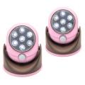 LEDセンサーライト パッとひかる君 2個組/ピンク