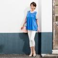 CLEO SUN 裾ビジュークロップドパンツ/ホワイト