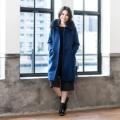 Posh Alma カシミヤ100% フォックスファー付ロングコート/ブルー