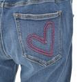 &LOVE ロゴ刺繍のアクティブHAPPY美脚デニムパンツ/ブルー