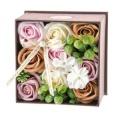 お花のカタチのギフト フレグランスフラワー アンティークボックス/カフェオレ