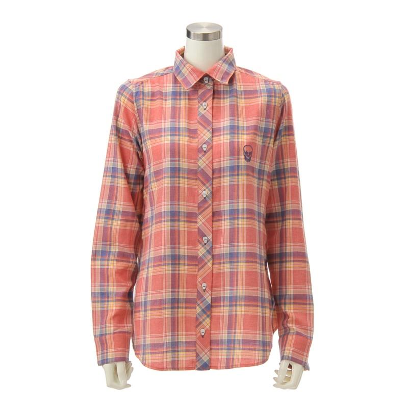 RJV スカル刺繍の2wayチェックシャツ