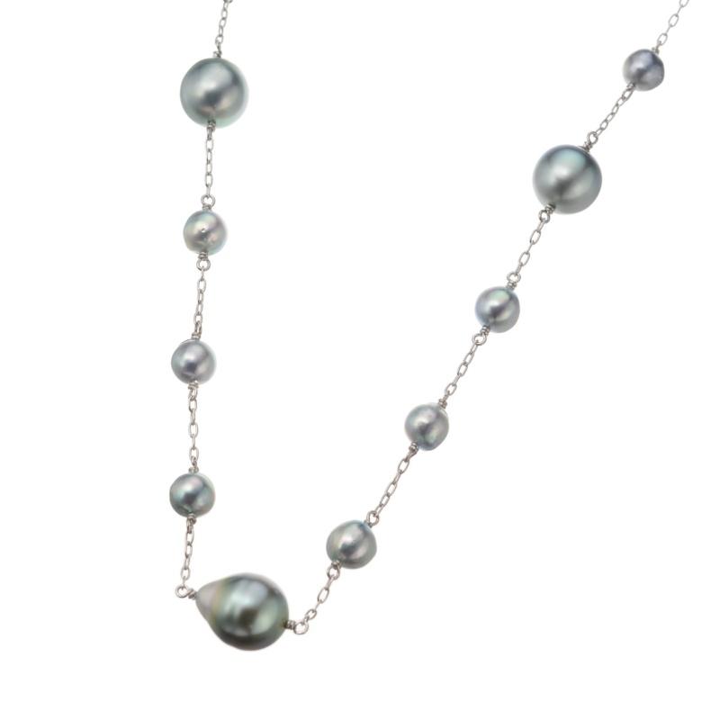 SilverSkin 黒蝶&あこや真珠ロングネックレス