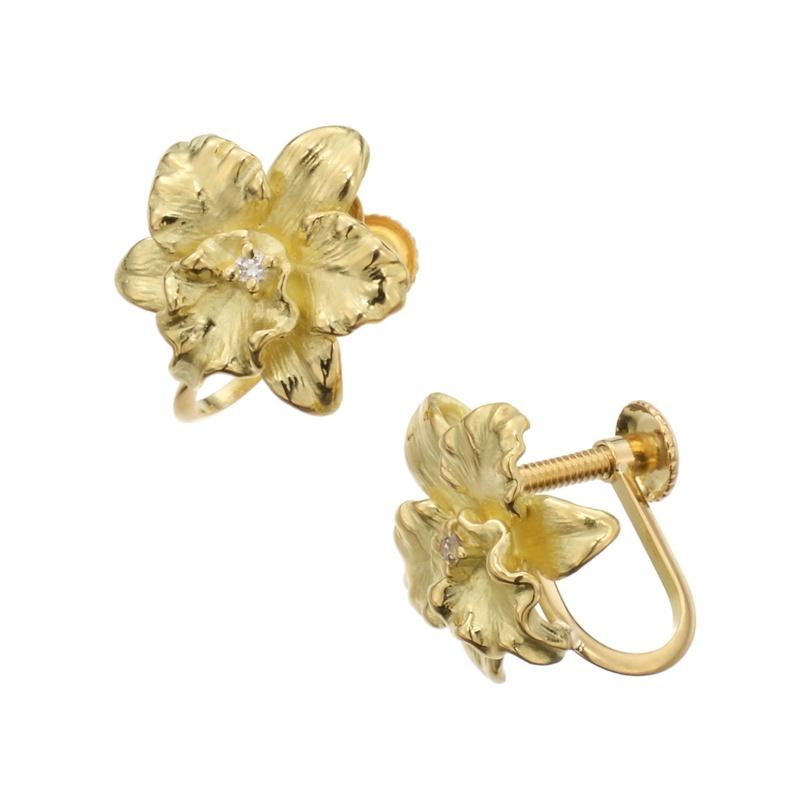 18K ダイヤモンド デザインイヤリング 「カトレア」