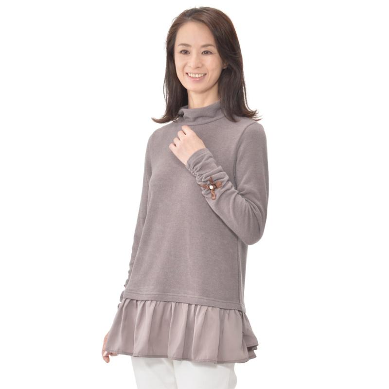 MALIANI 裾フリルの暖かハイネックチュニック