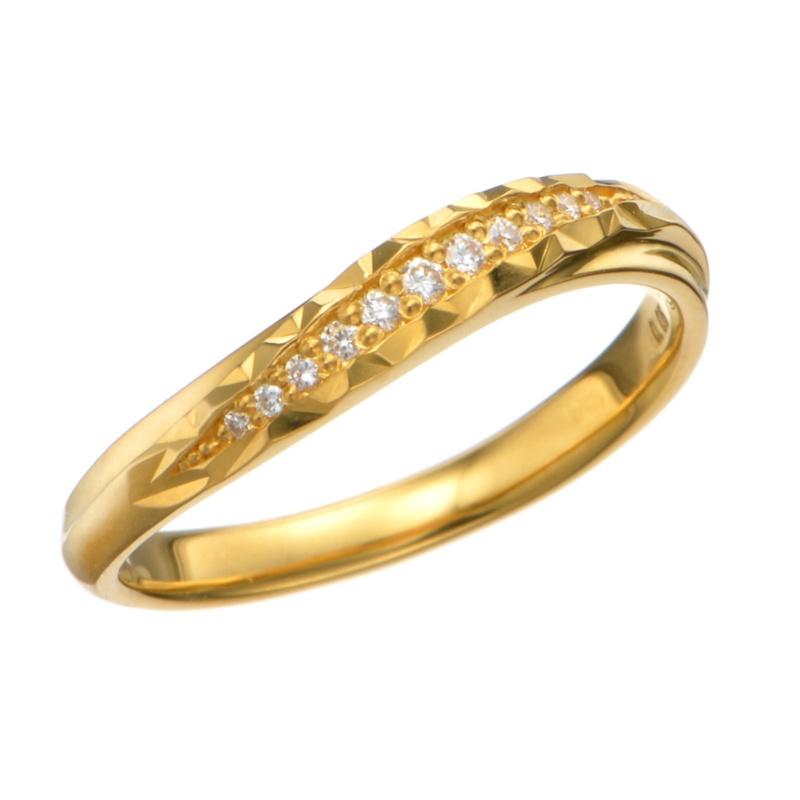 24K ウェービーライン ダイヤモンドデザインリング