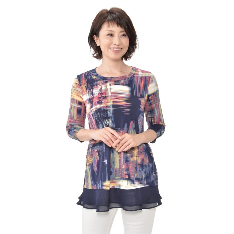 Nina Leonard シフォンレイヤード七分袖チュニック