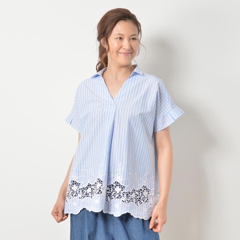 RosePeche スキッパー裾刺繍チュニック